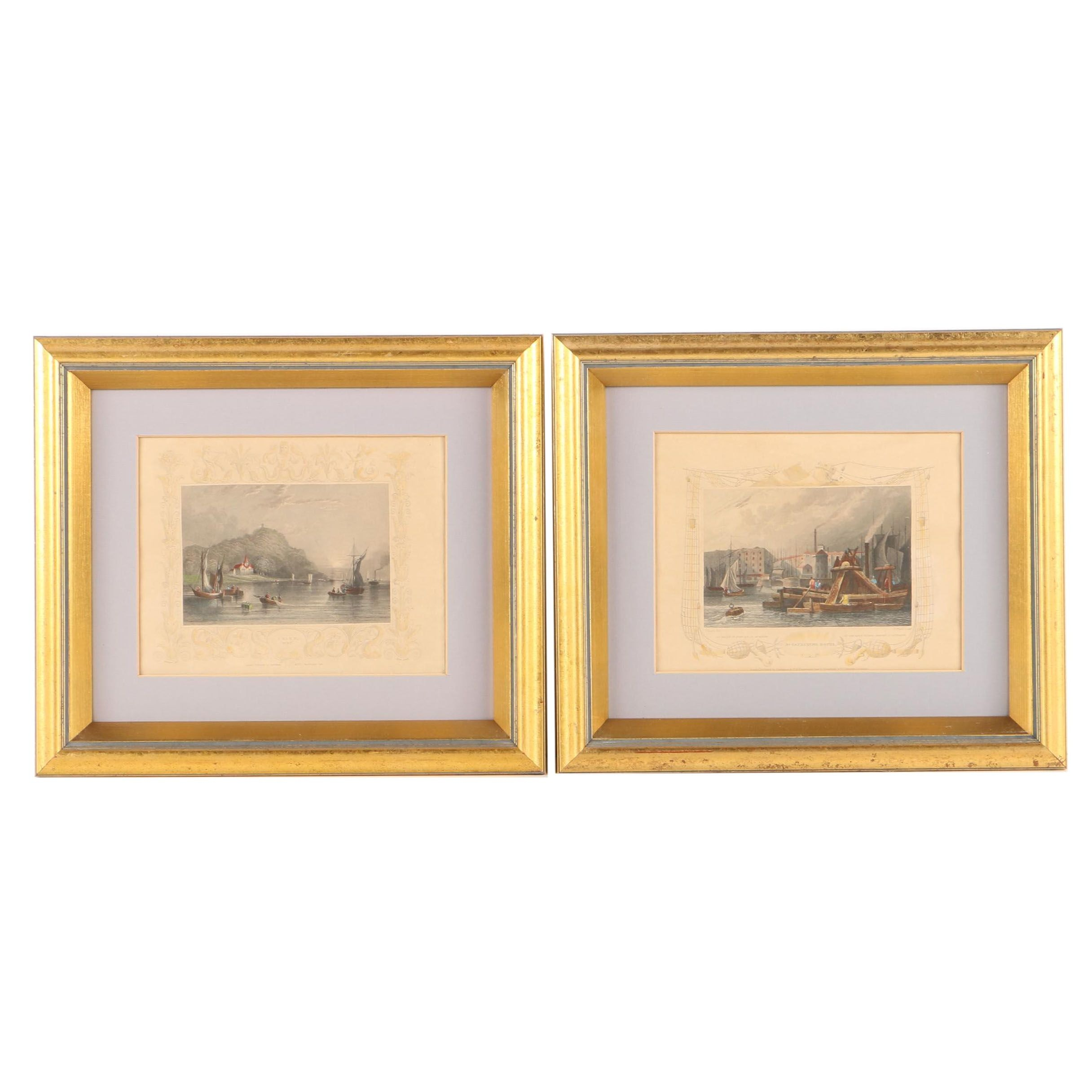 "Antique Tombleson Hand-Colored Engravings of ""Erith"" and ""St. Catherine Docks"""