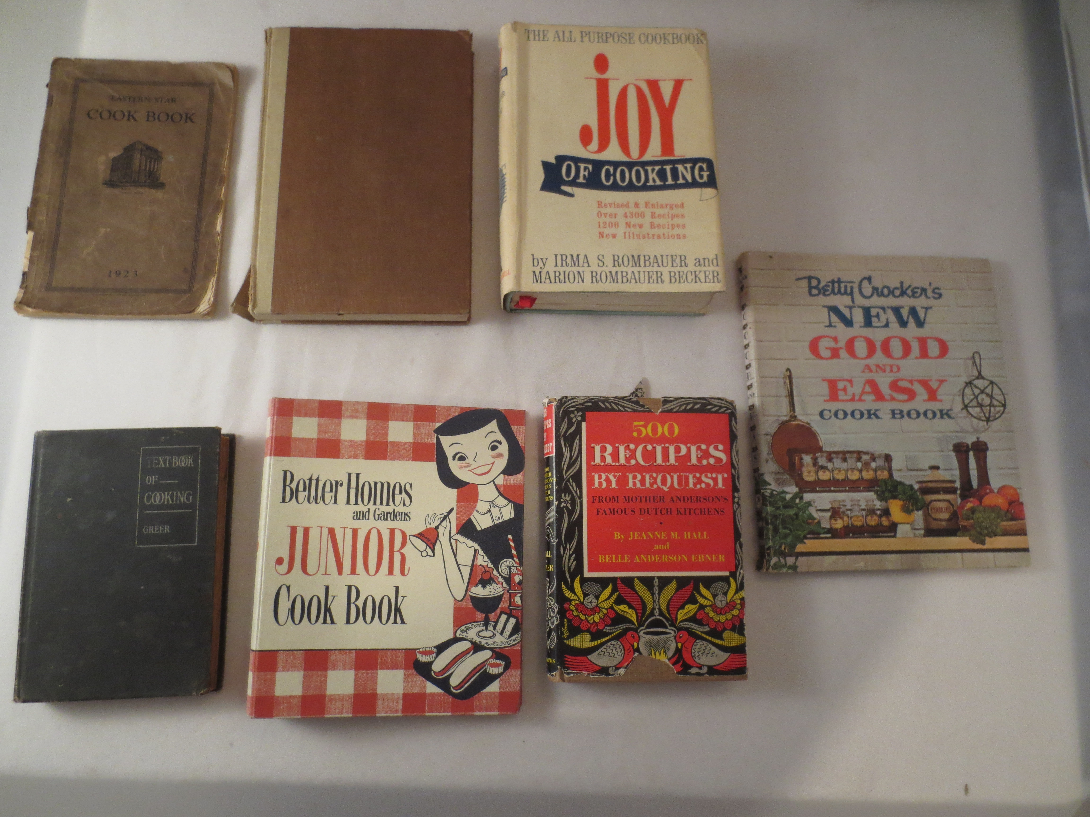 Collection of 7 Vintage & Antique Cookbooks including The Joy of Cooking, 1967