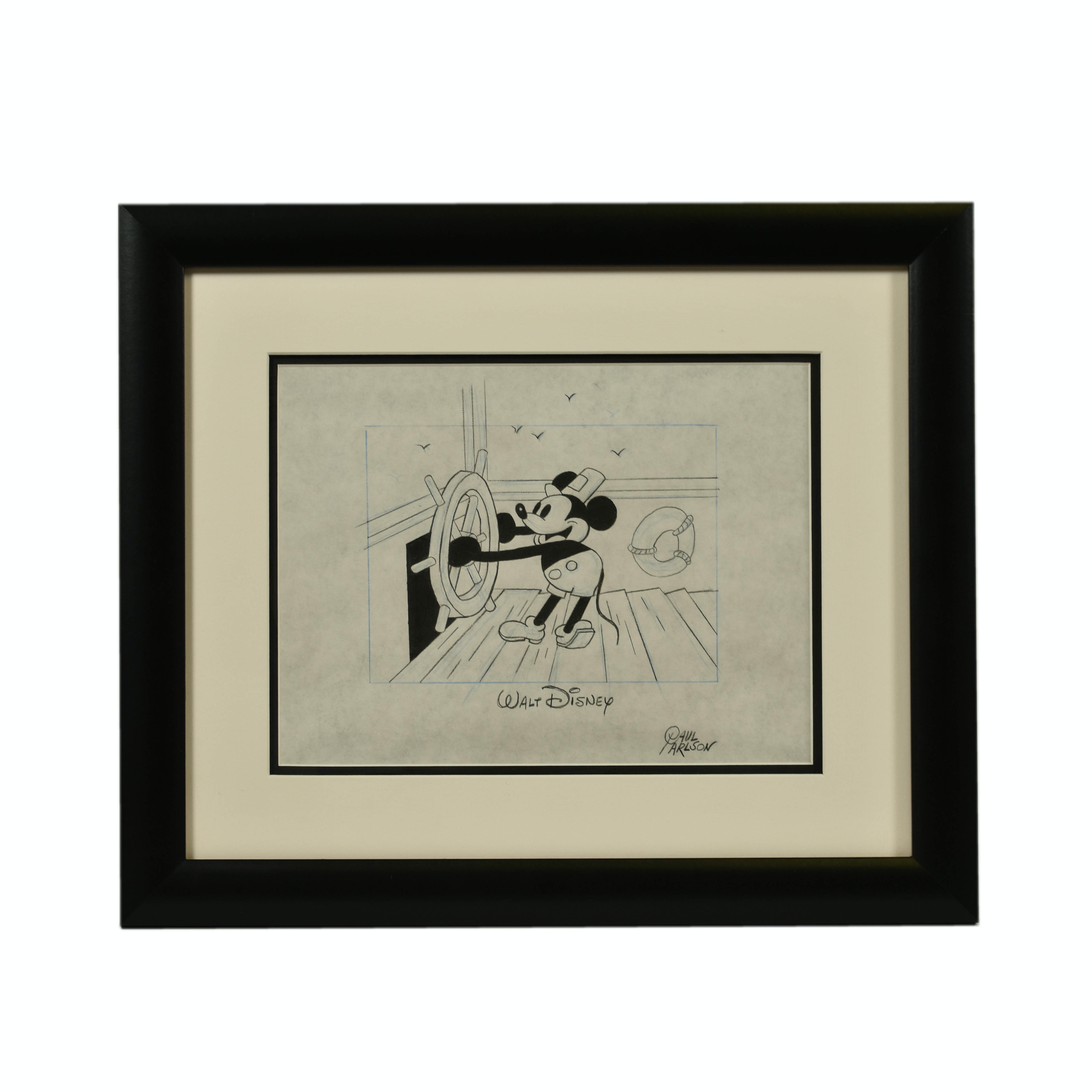 Walt Disney Framed Sketch - Steamboat Willie - Signed by Paul Carlson