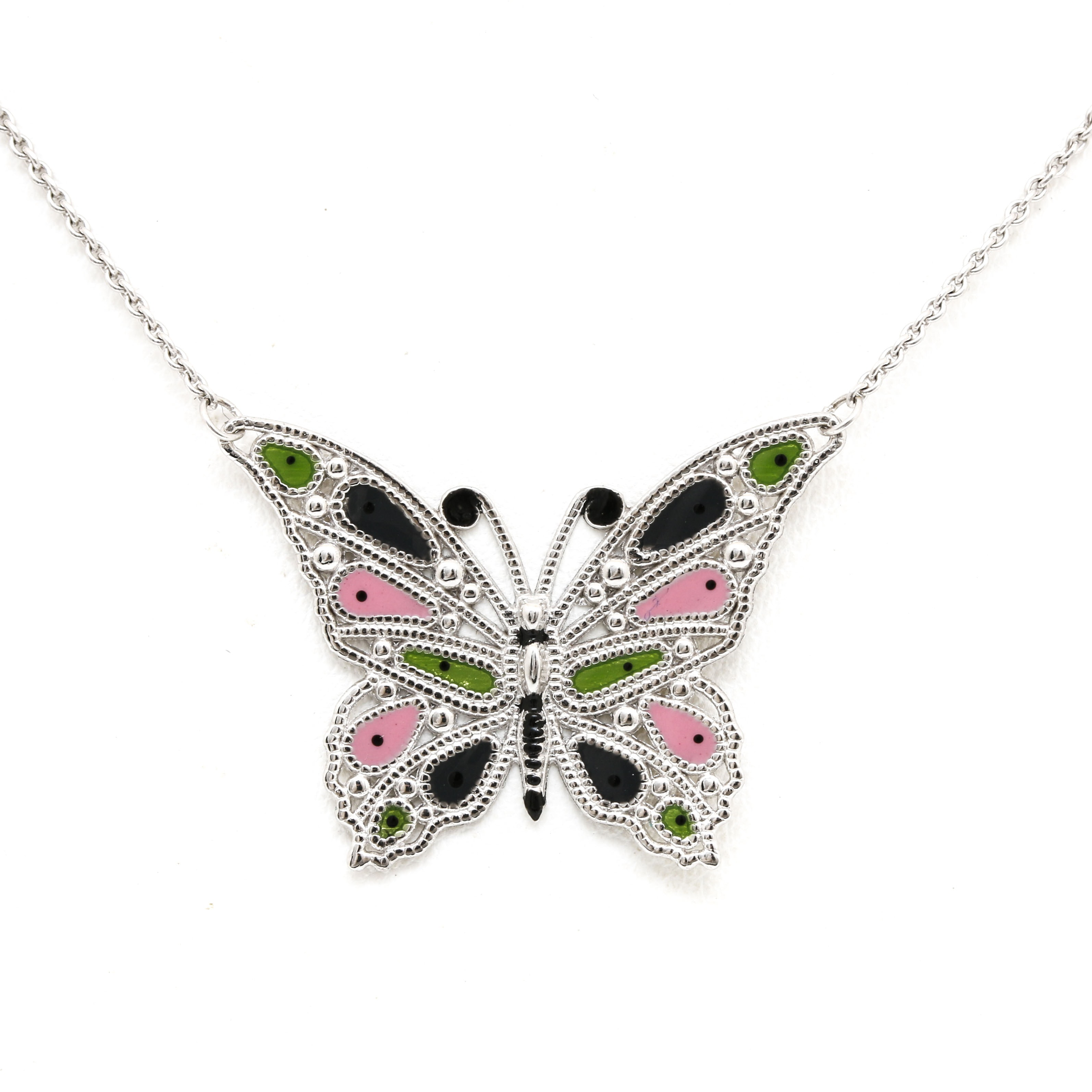 14K White Gold Enamel Butterfly Pendant Necklace