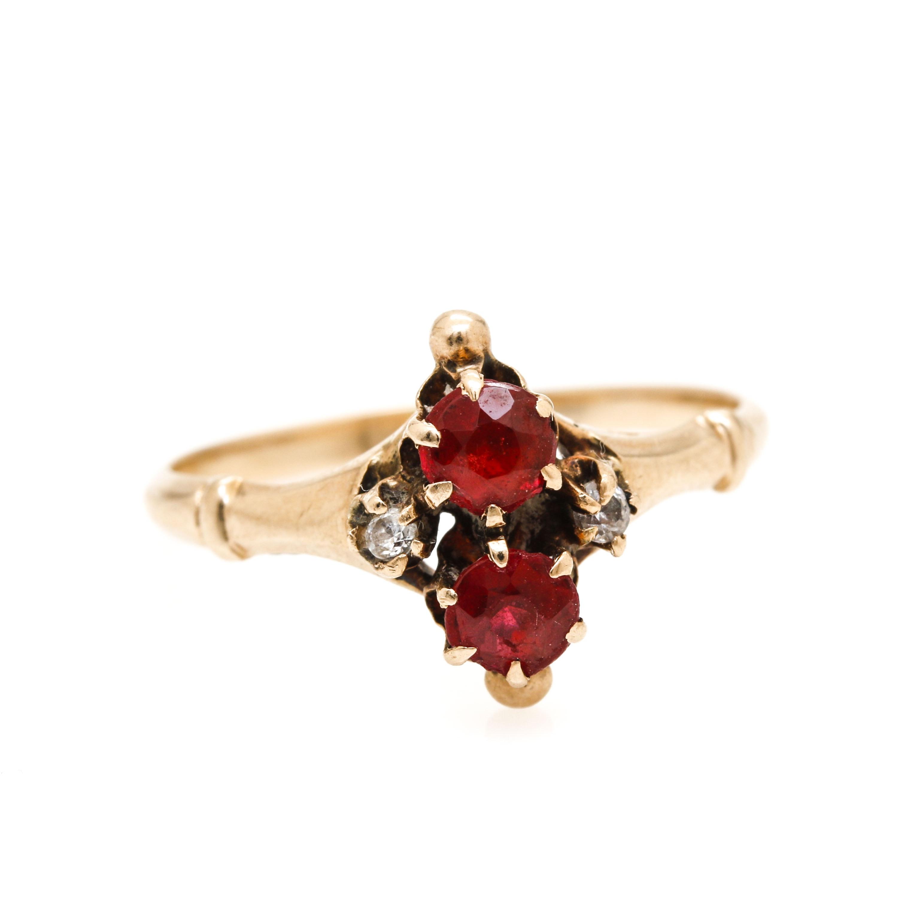 10K Yellow Gold Garnet and Cubic Zirconia Ring