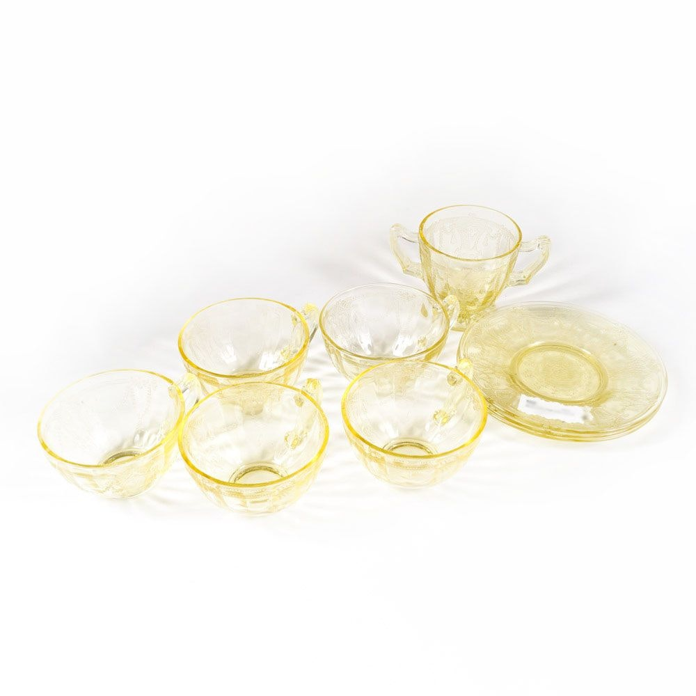 "Yellow Depression Glass ""Cameo Ballerina"" Coffee Cups and Plates"