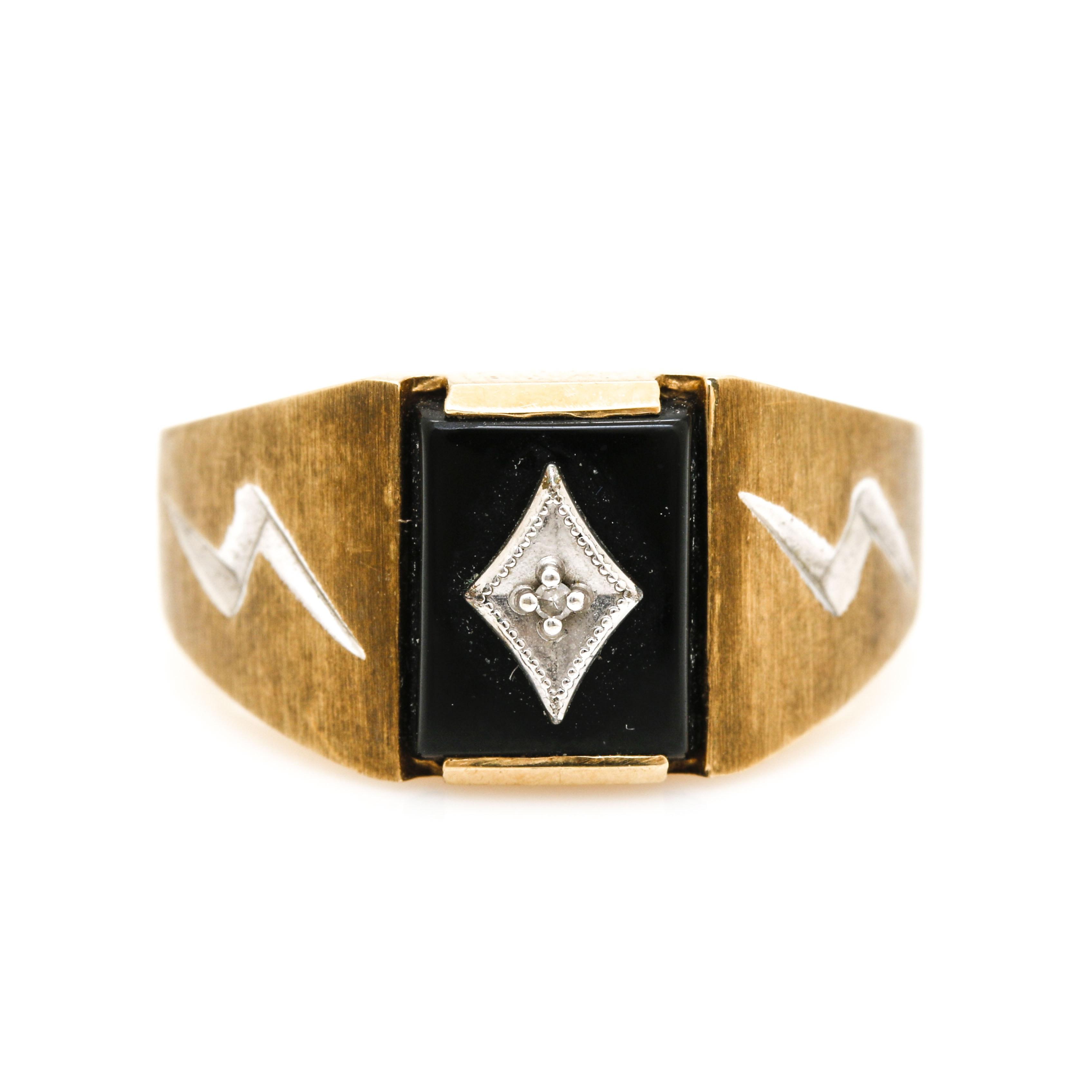 10K Yellow Gold Onyx and Diamond Ring