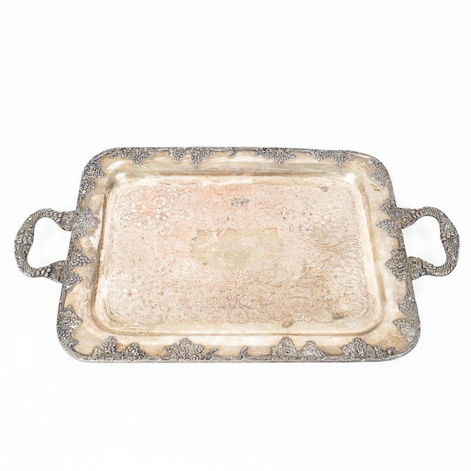 Antique Gotham Silver-Plated Copper Serving Tray
