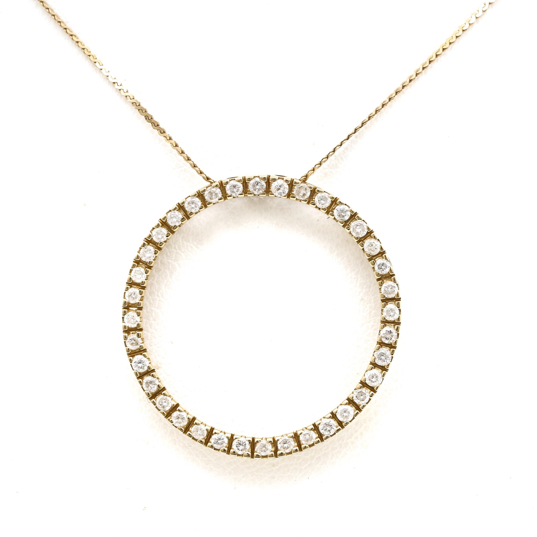 14K Yellow Gold Diamond Circle Pendant Necklace