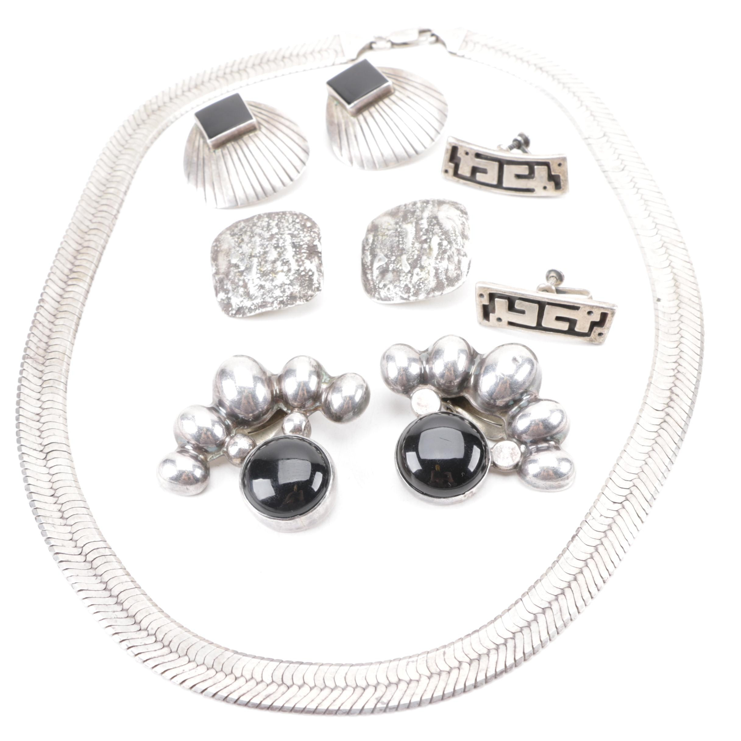 Assortment of Sterling Silver Jewelry Including Onyx