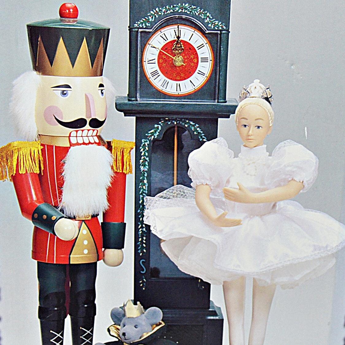 Holiday Musical Ballerina and Nutcracker Display Scene with Seiko Clock