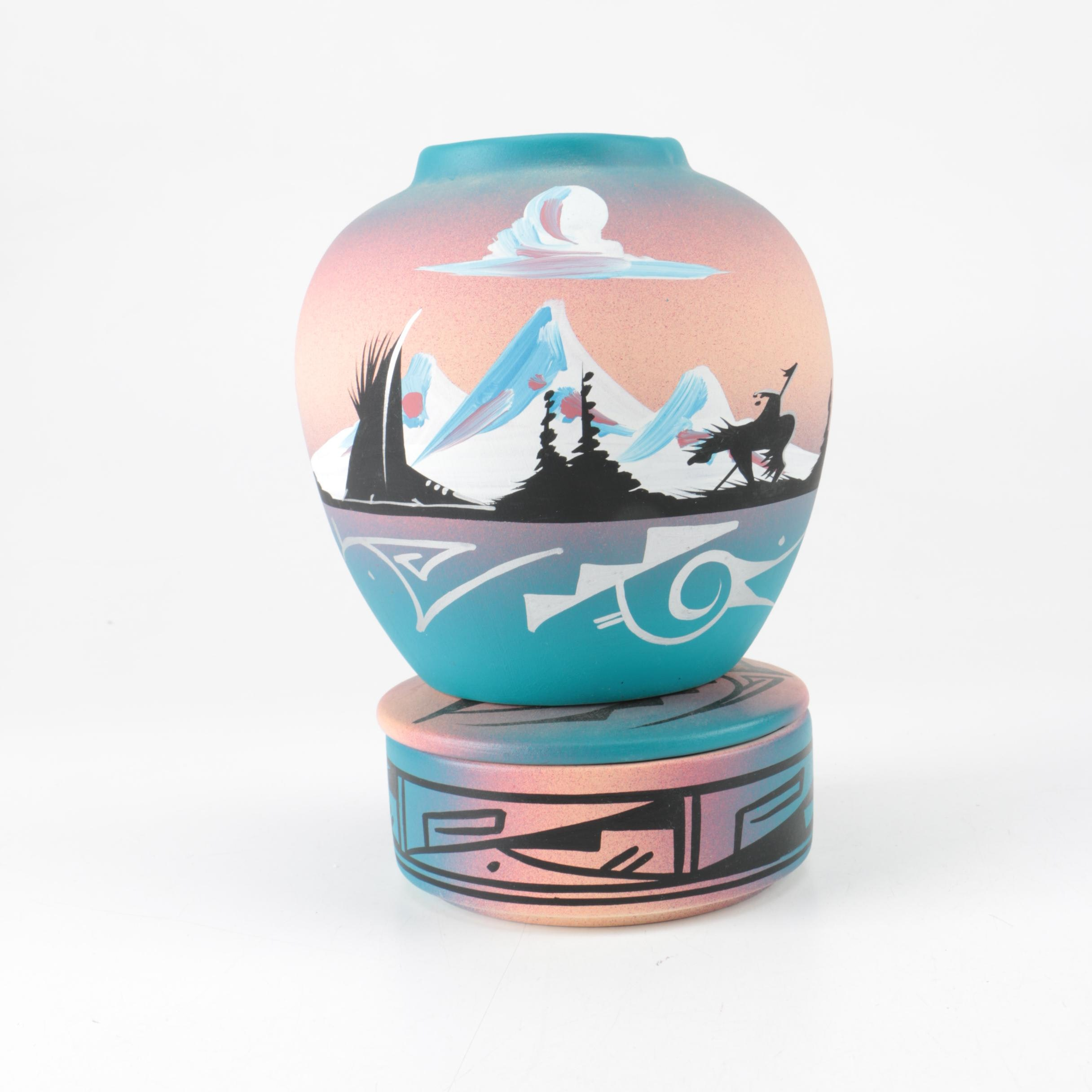 Signed Navajo Hand Painted Vase and Lidded Container
