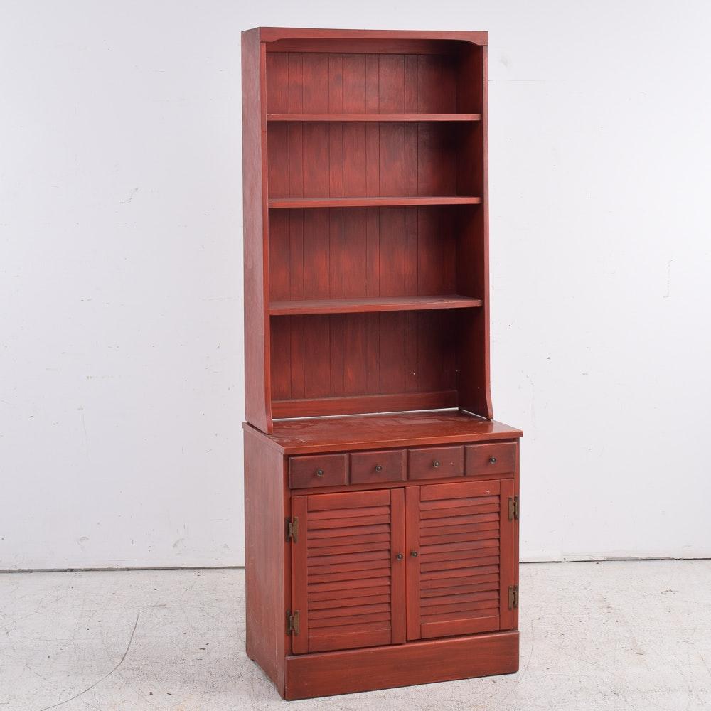 Vintage Bookcase Over Cabinet