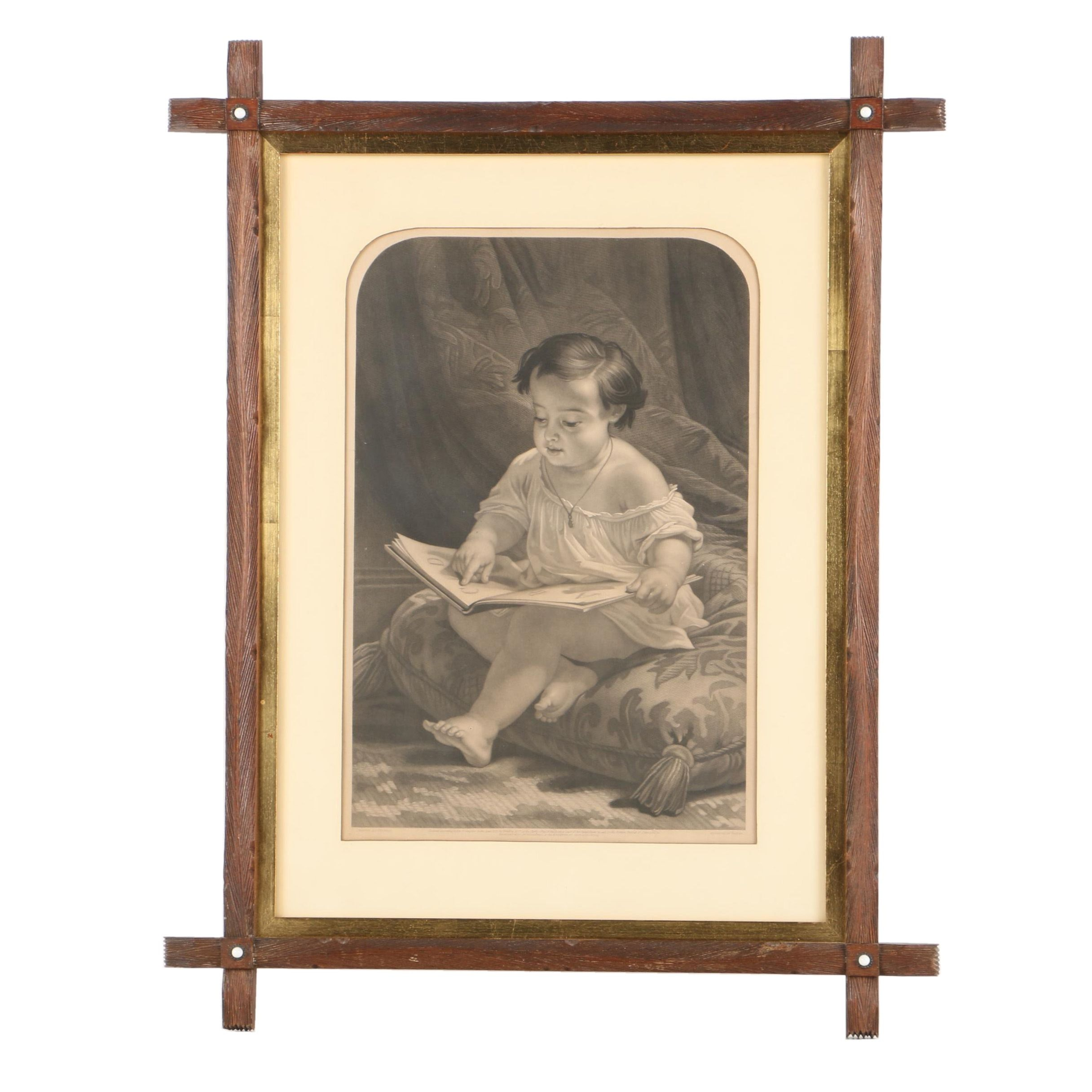 Engraving on Paper After Holfeld Portrait of Child Reading