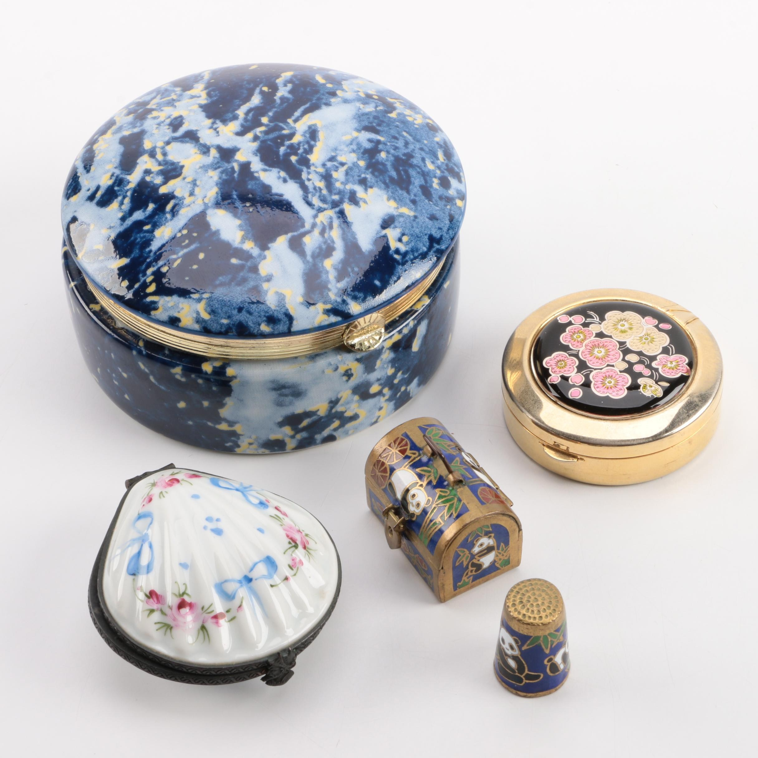 Assortment of Trinket Boxes and one Thimble