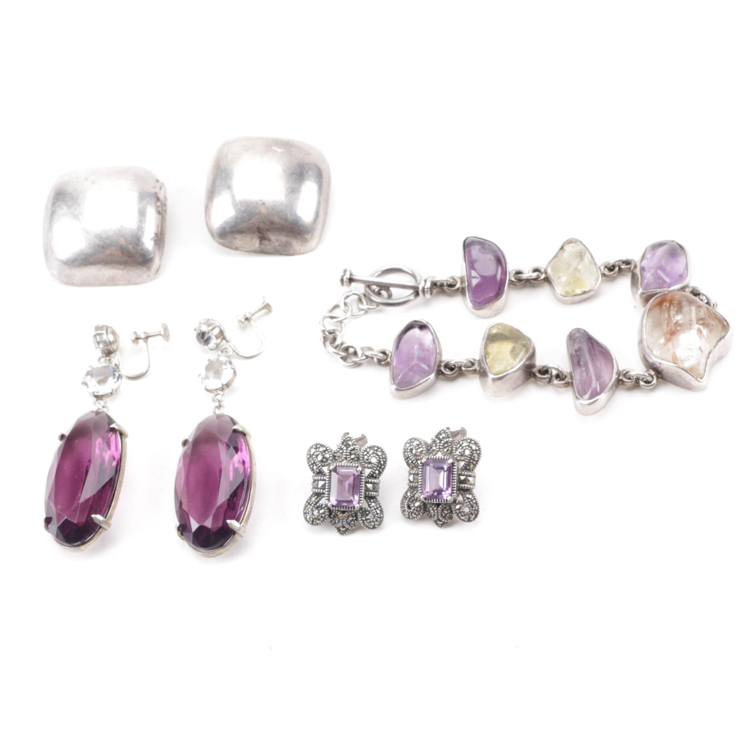 Collection of Sterling Silver Jewelry Including Amethyst and Judith Jack