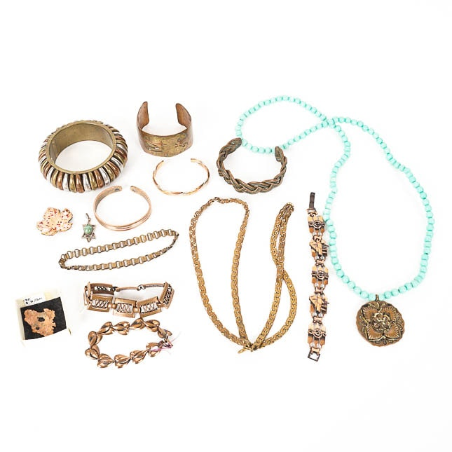 Vintage Copper and Metal Jewelry with Turquoise
