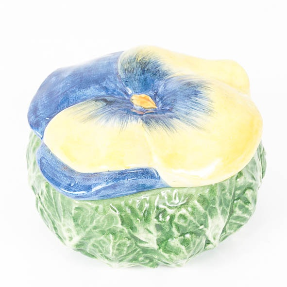 Horchow Italian Blue and Yellow Impatiens Flower Porcelain Box