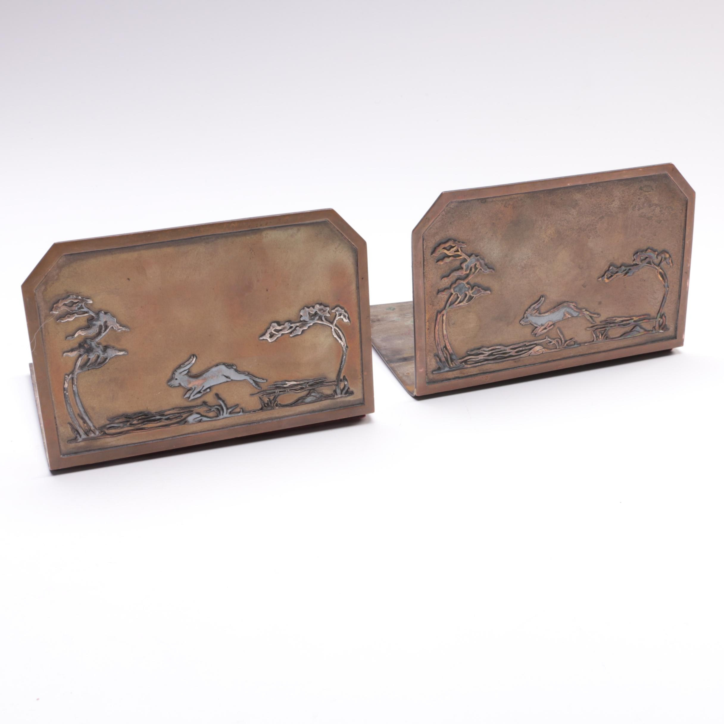 "Early 20th Century Heintz ""Science"" Sterling on Bronze Bookends"