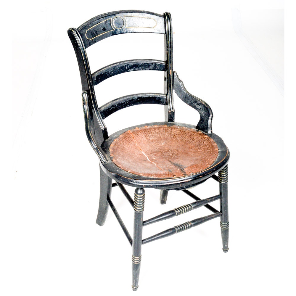 Vintage Wood Chair With Leather Seat
