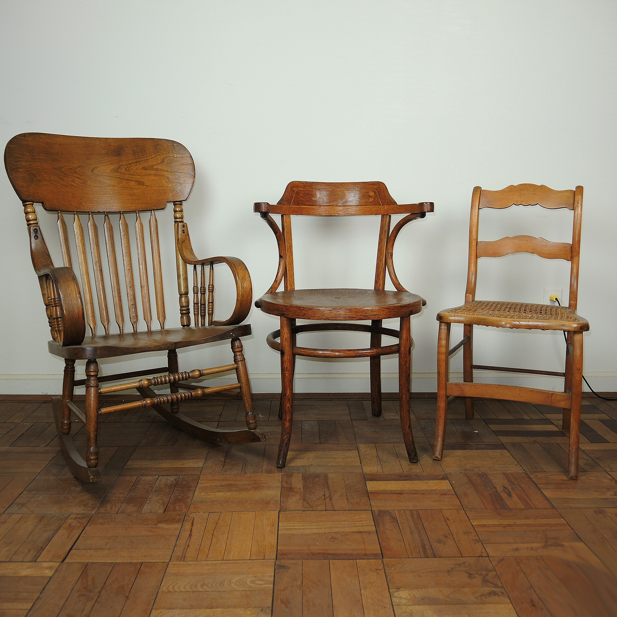 Vintage Oak Occasional Chairs and Rocking Chair