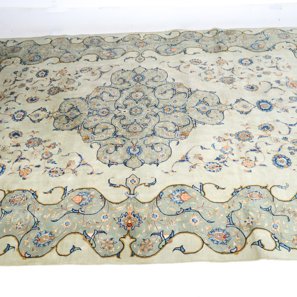 Vintage Hand-Knotted Persian Isfahan Royal Room Size Rug