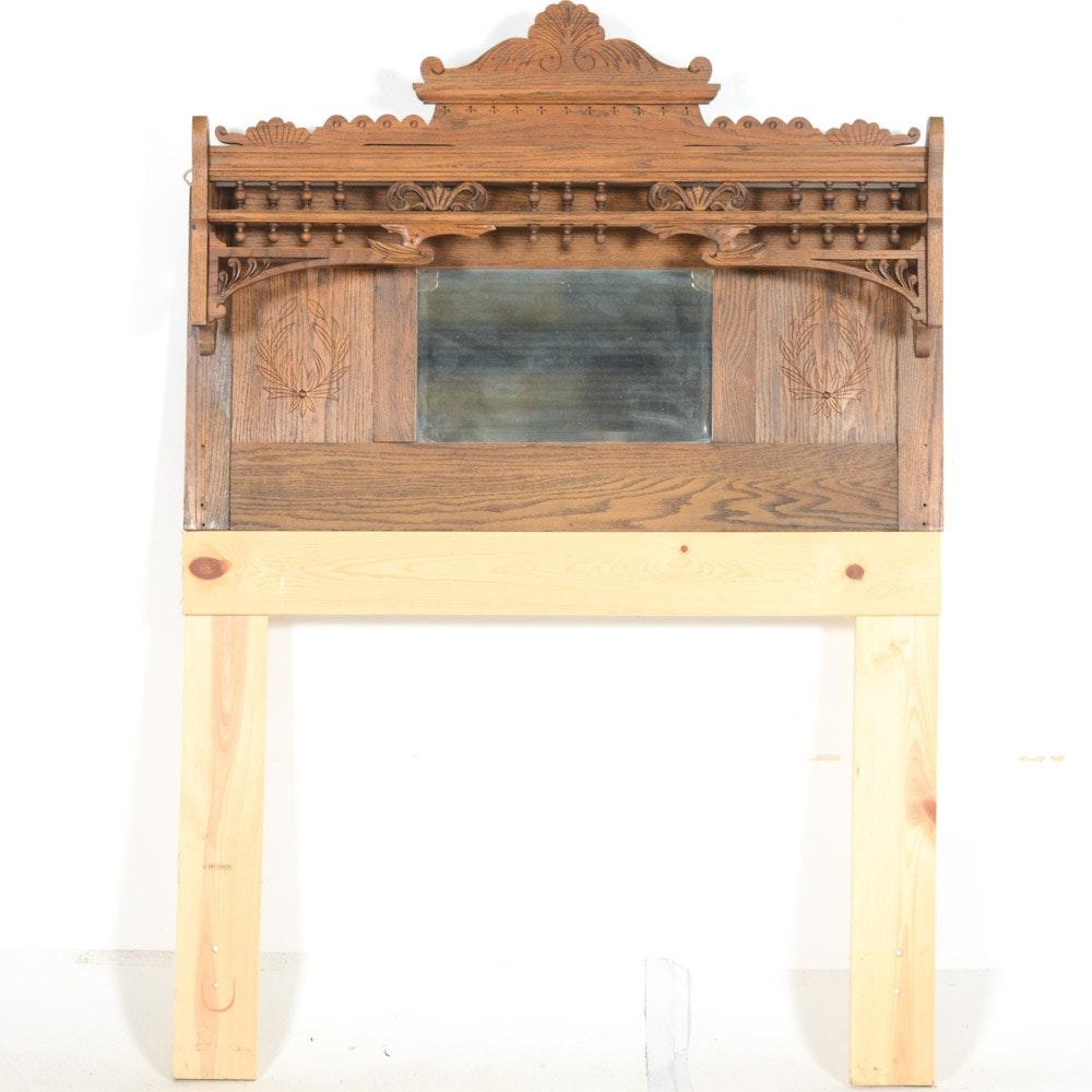 Vintage Wood Headboard With Mirror