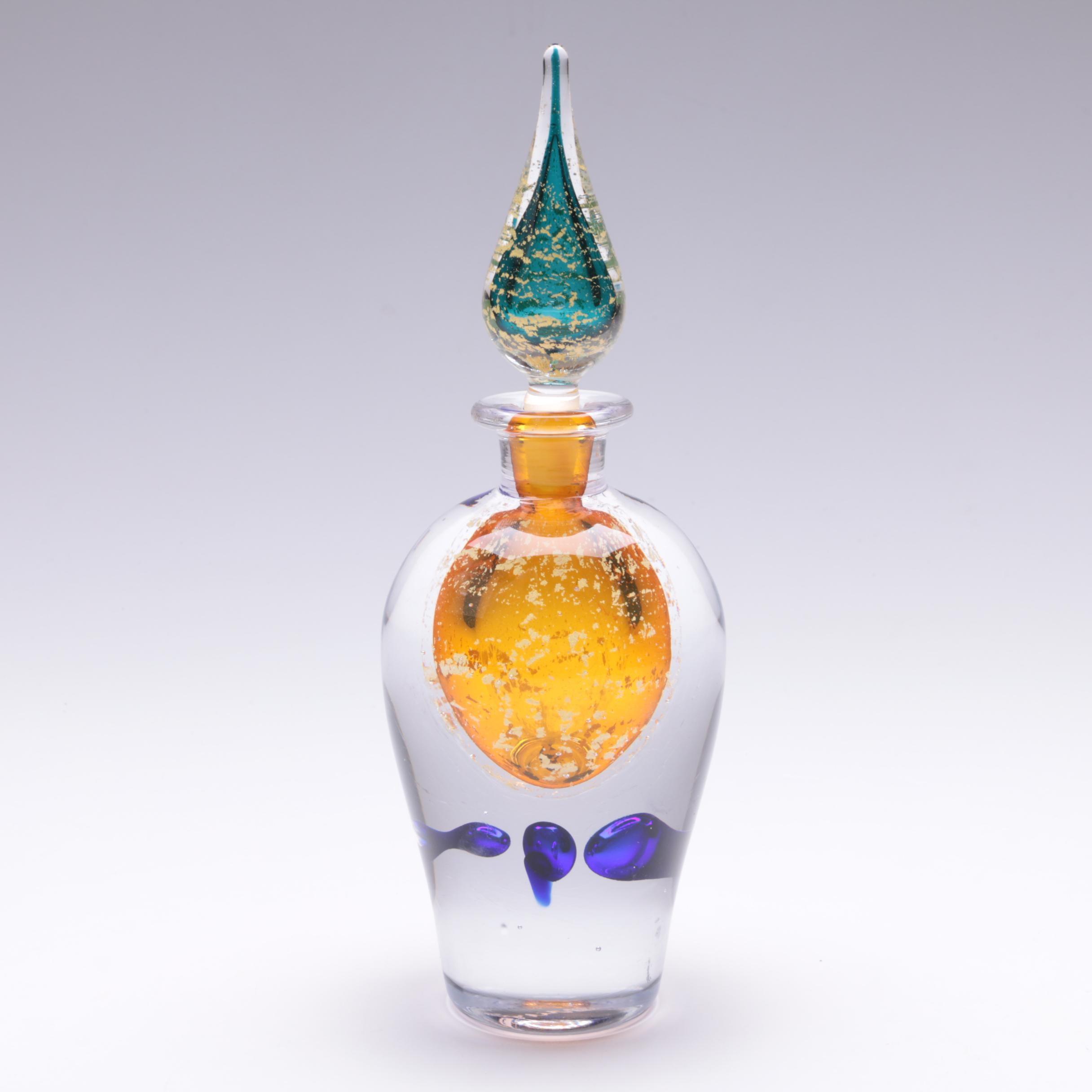 Signed Vibrant Art Glass Decanter