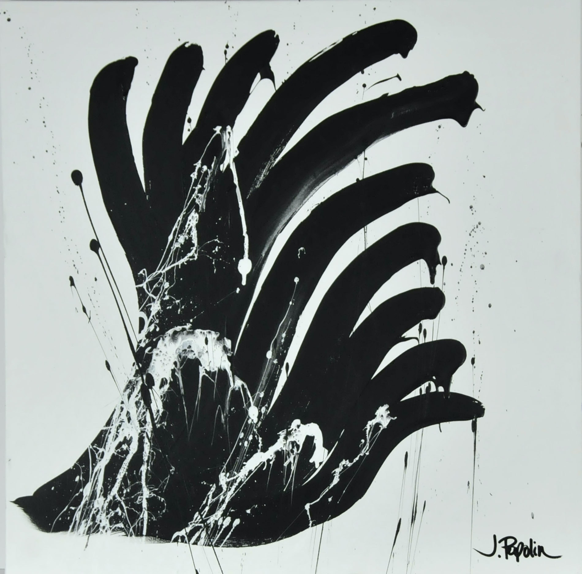 "J. Popolin Original Acrylic on Canvas ""Black on White"""