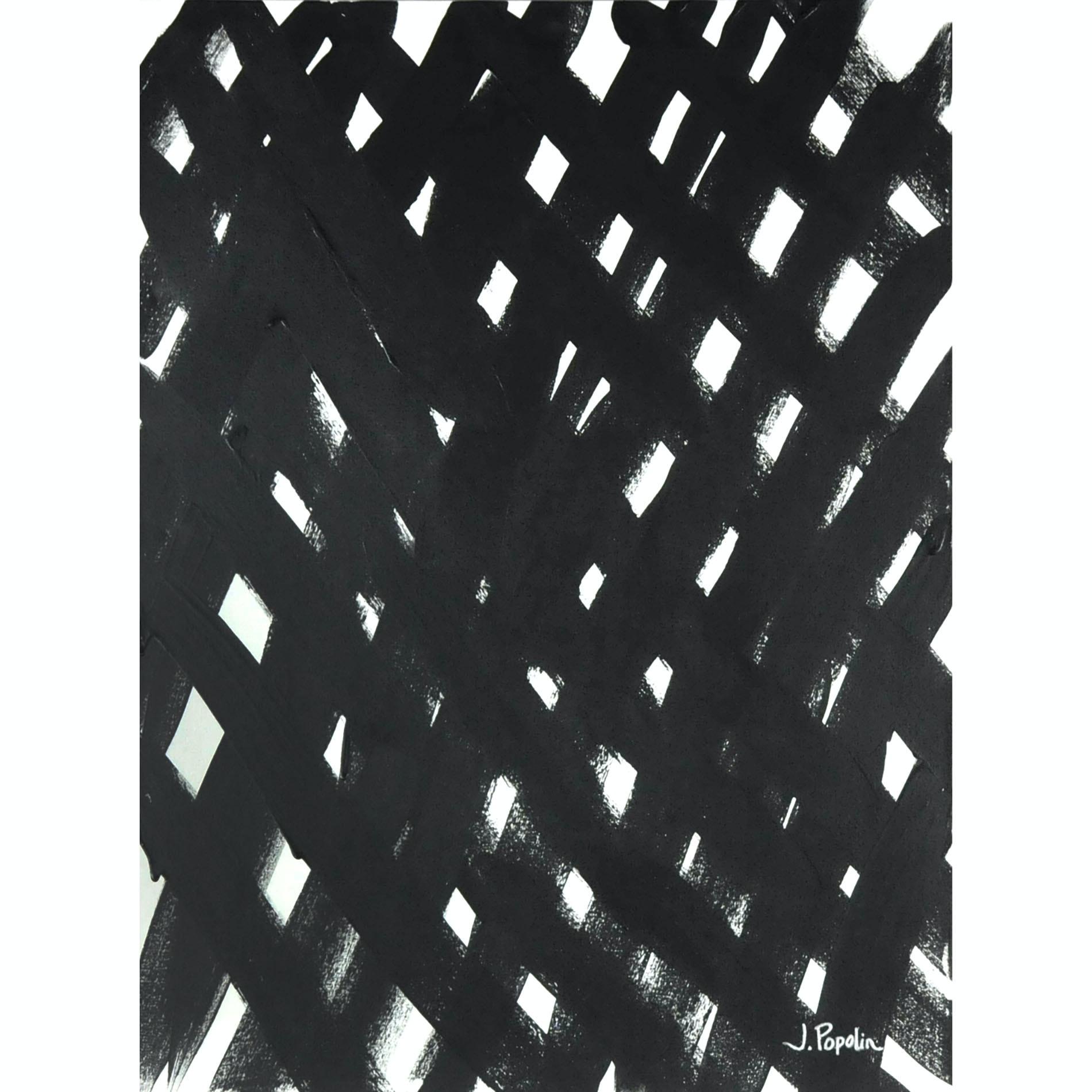 "J. Popolin Original Acrylic on Canvas ""Black and White Weaving"""