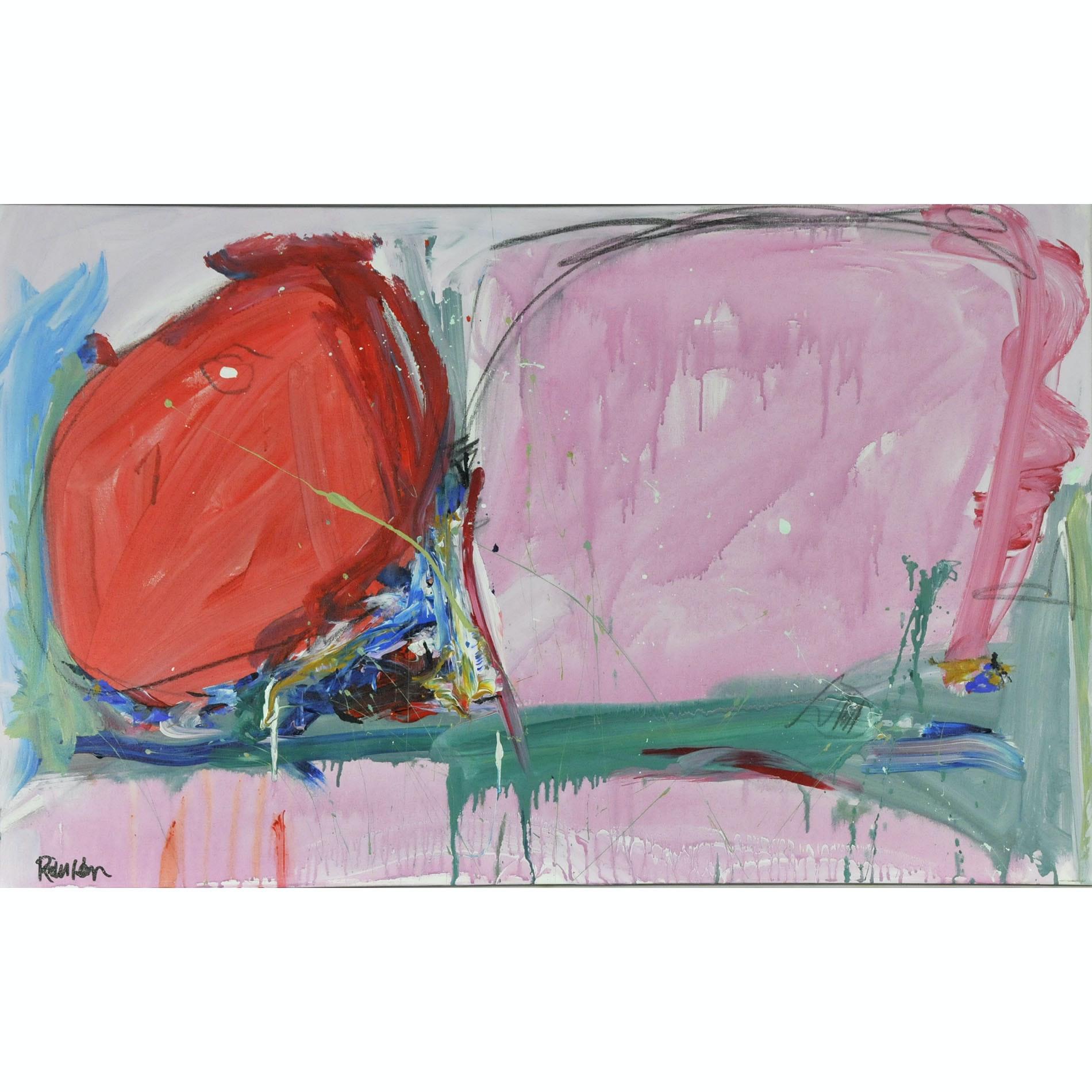 "Robbie Kemper Original Acrylic on Canvas ""Bright Pastel Landscape"""