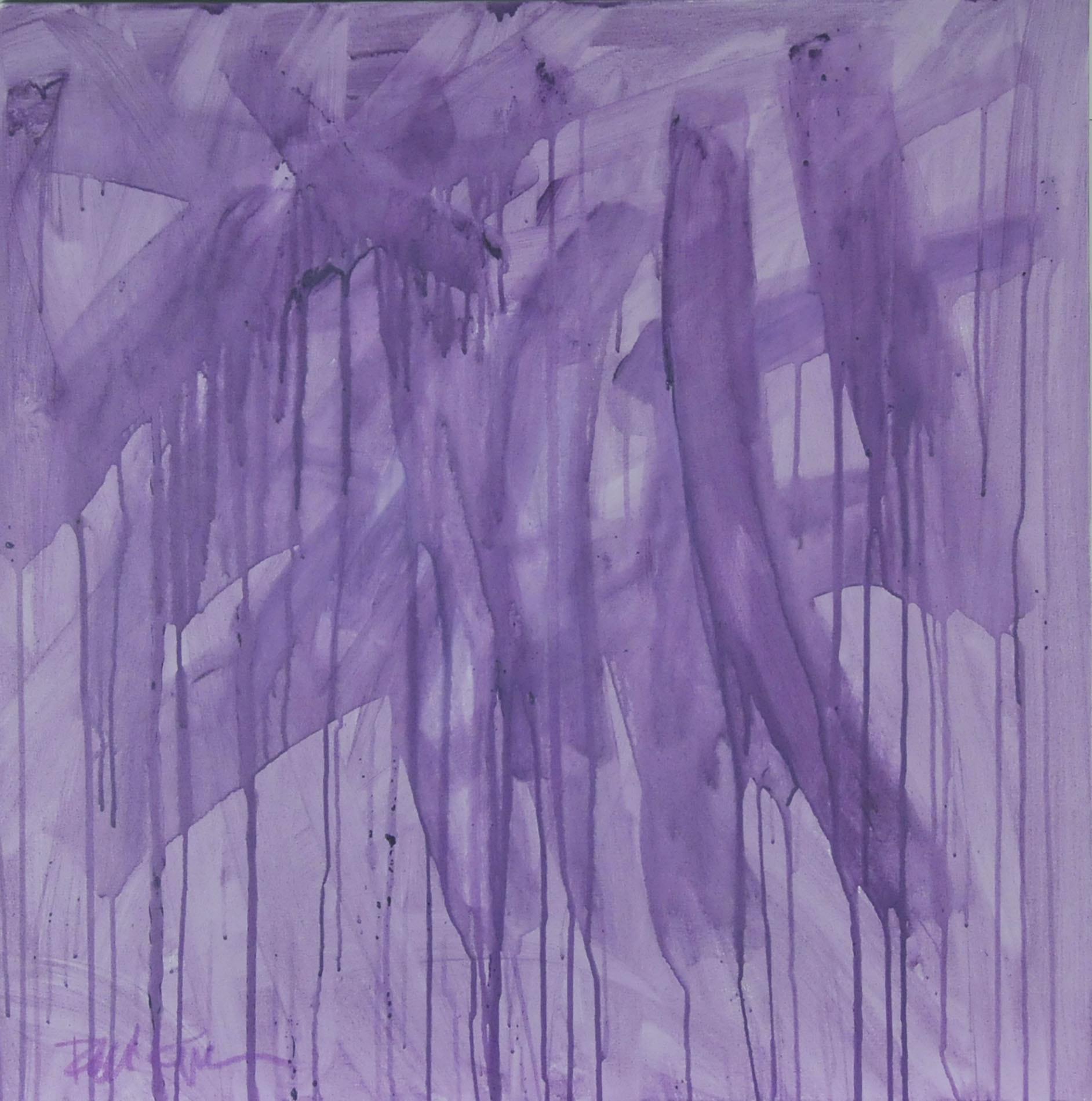"Robbie Kemper Original Acrylic on Canvas ""Square Washy Lavender"""