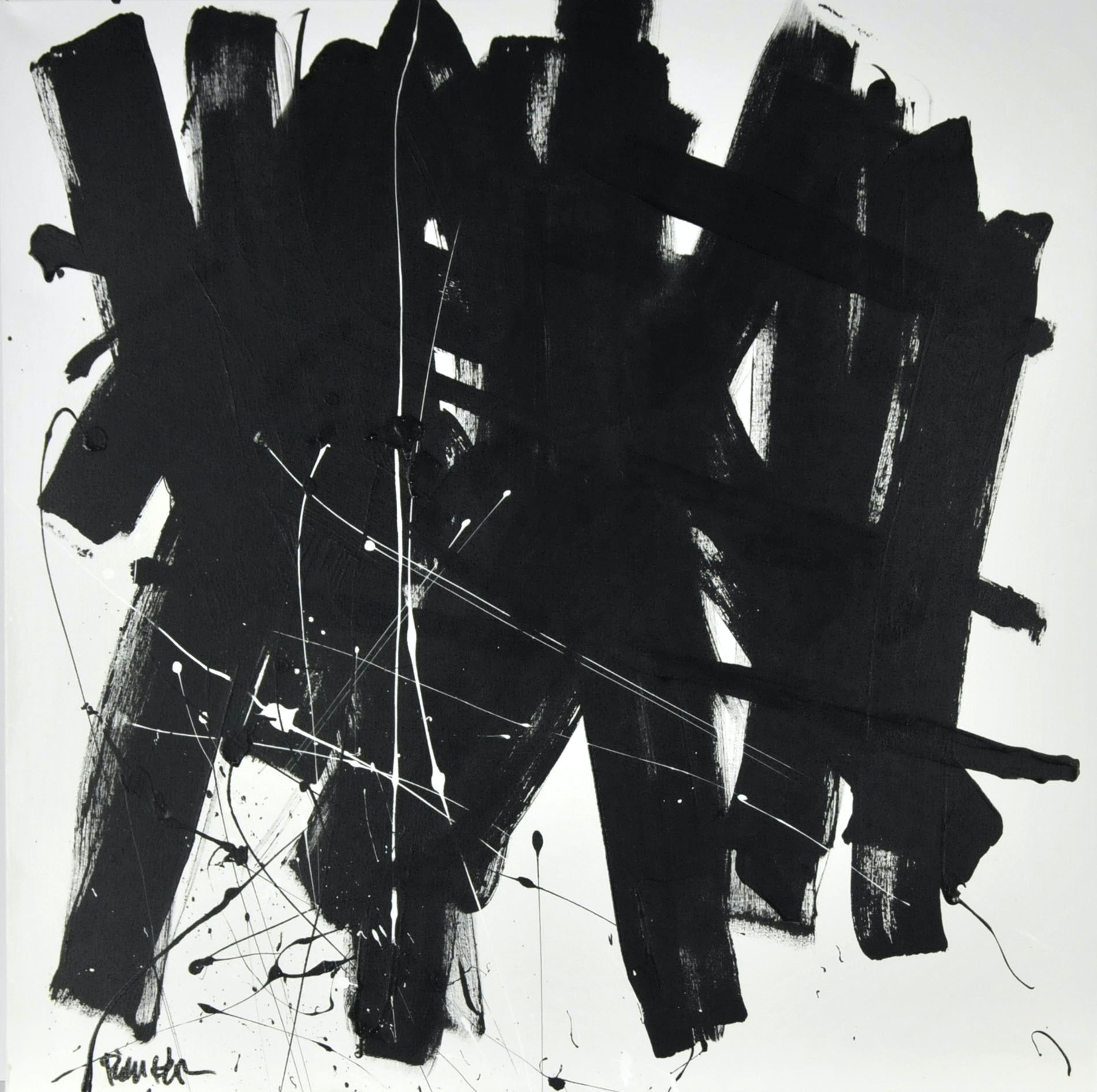 "Robbie Kemper Original Acrylic on Canvas ""White Bits Black Marks"""