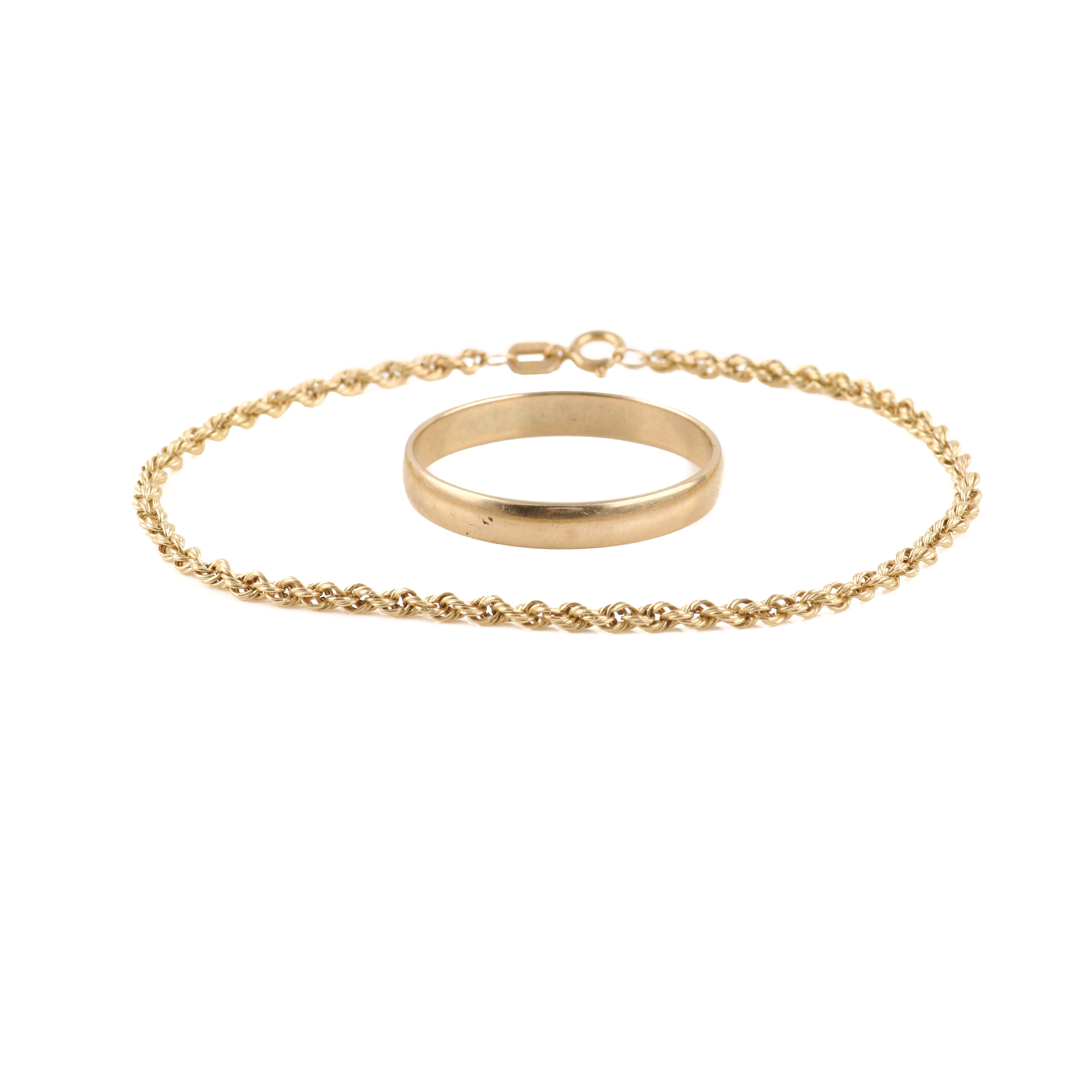 14K Yellow Gold Bracelet and 10K Yellow Gold Ring