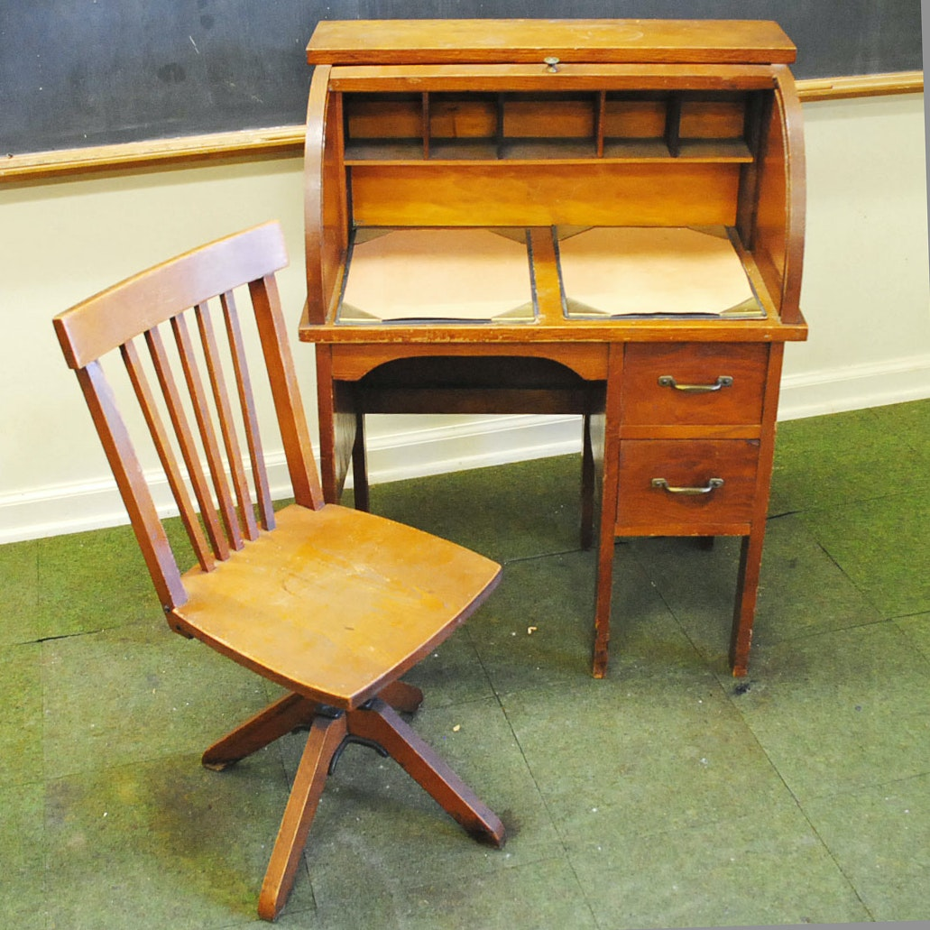 Vintage Child Size Oak Roll Top Desk with Chair