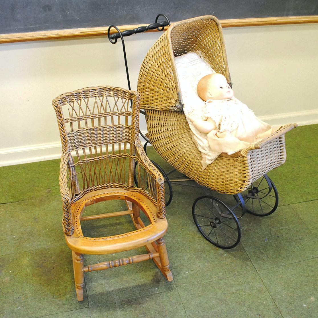 Vintage Child Size Wicker Rocking Chair and Wicker Pram