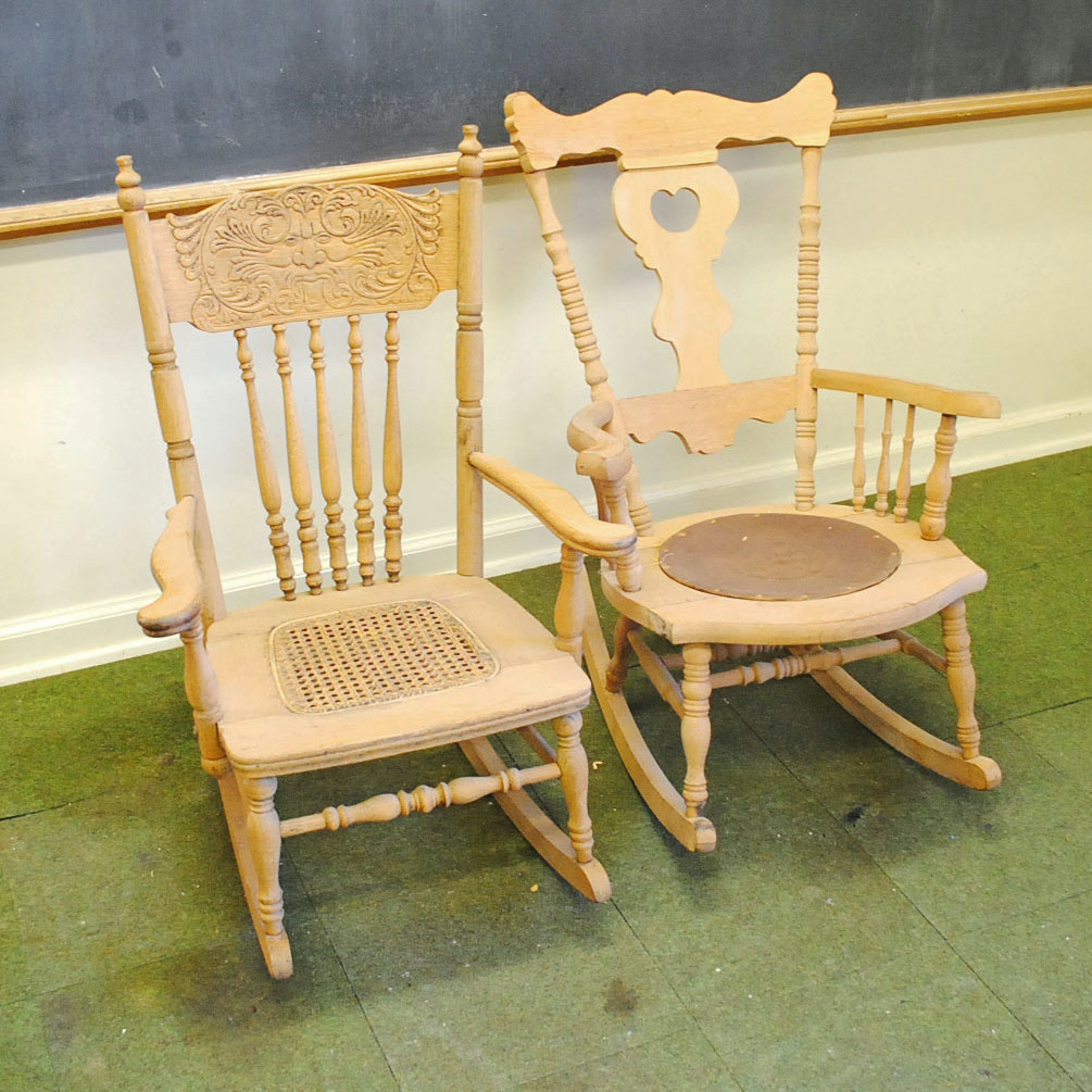 Two Child Size Oak Rocking Chairs