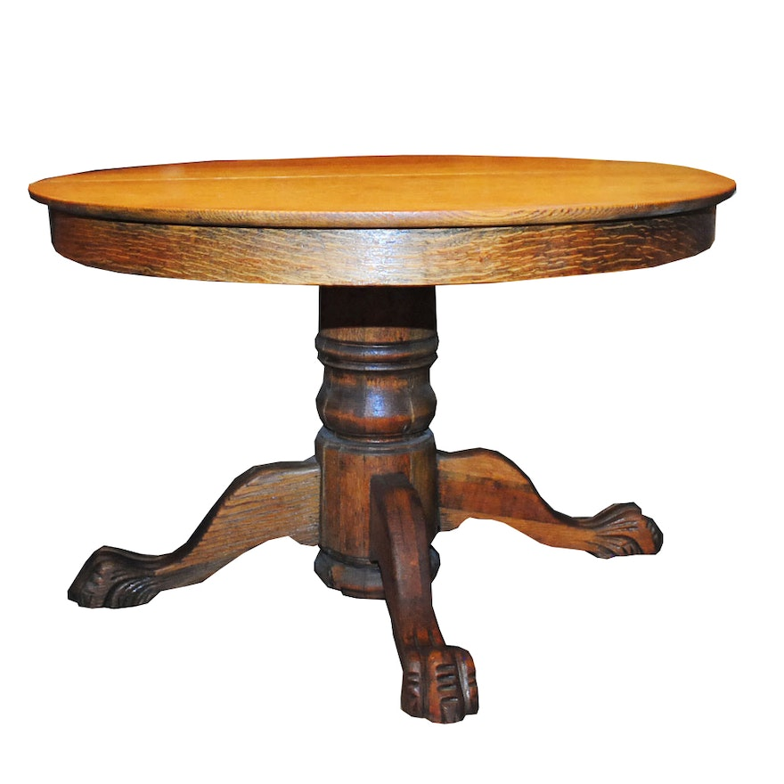 Vintage Claw Foot Oak Dining Table EBTH - Claw foot oak dining table