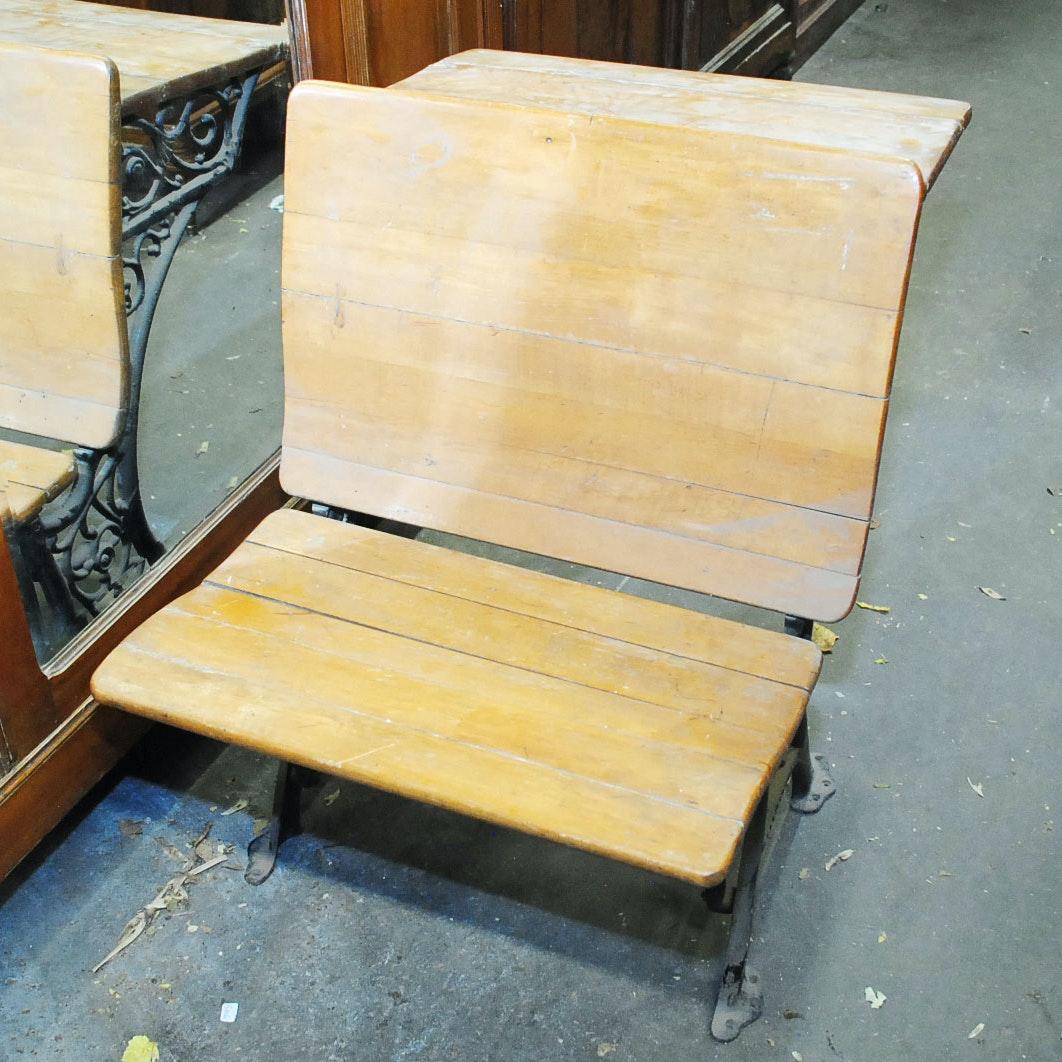 Antique Maple and Oak Wrought Iron School Desk