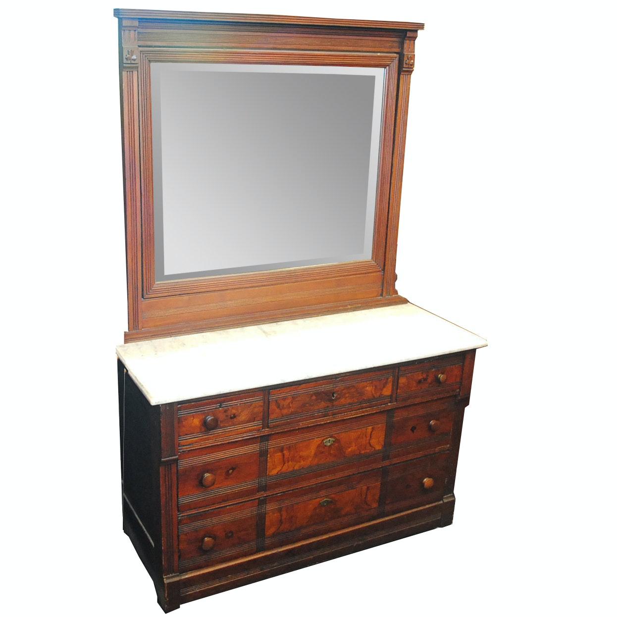 Antique Eastlake Walnut Marble Top Dresser