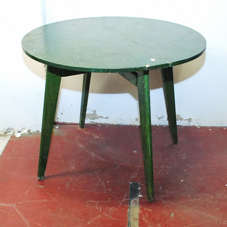 Green French Round Folding Table