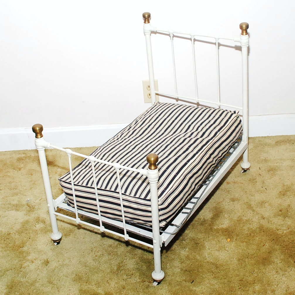 Vintage Child Size Iron Bed with Music Box