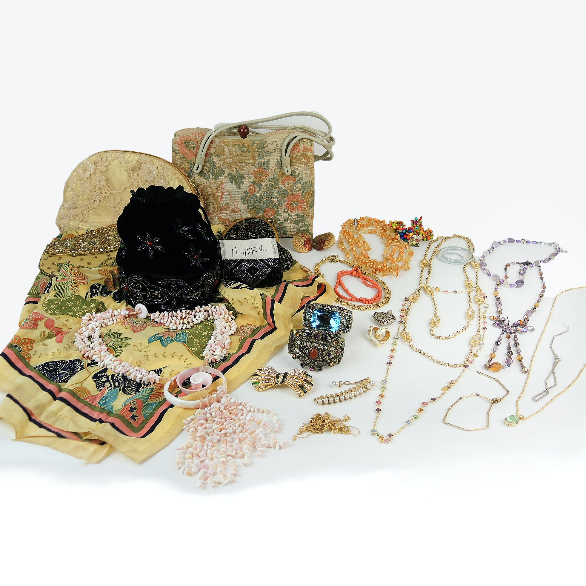 Costume Jewelry and Handbags Featuring Designers Heidi Daus and Mary McFadden