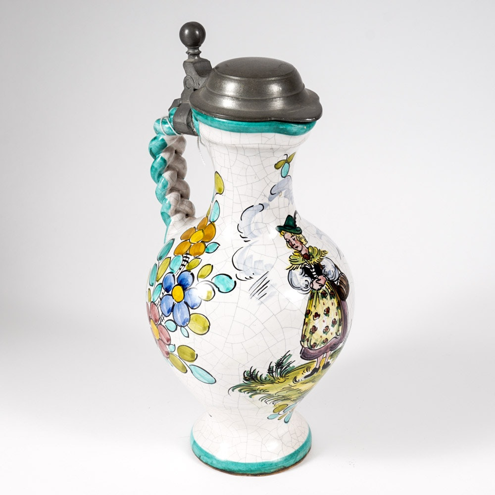 Vintage Bavarian Inspired Hand-Painted Pitcher with Pewter Lid