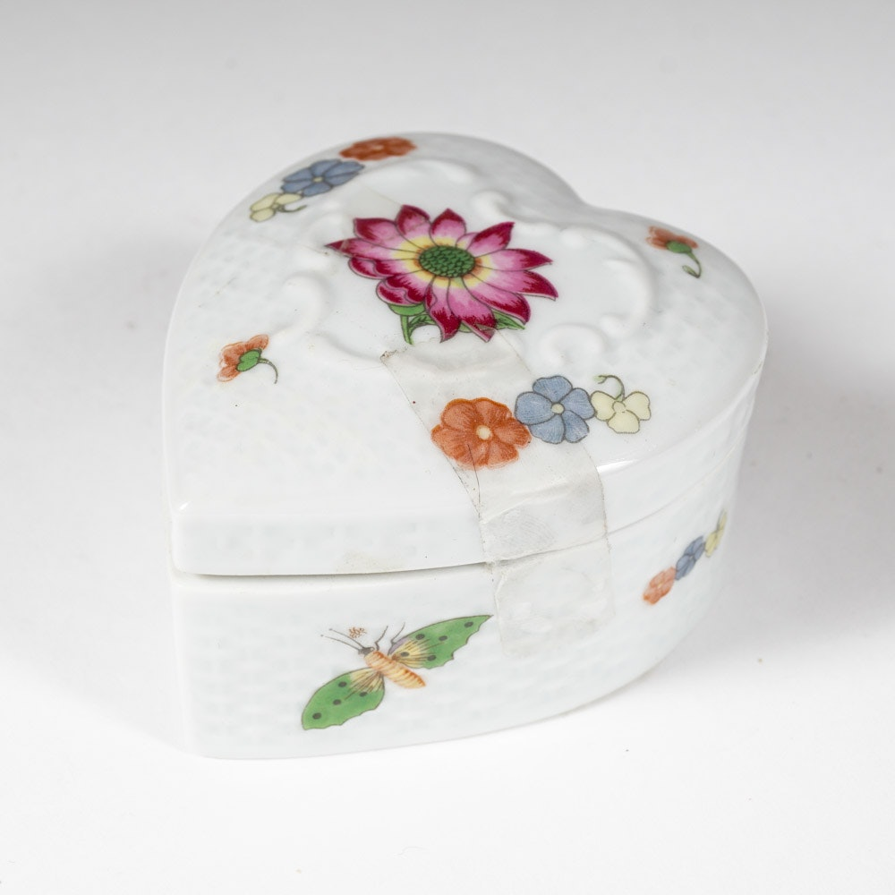 Limoges France Hand-Painted Heart and Basket Weave Porcelain Trinket Box