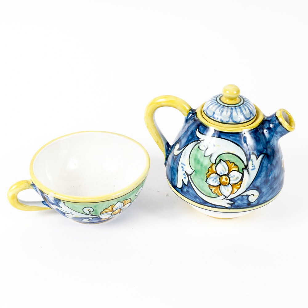 Vietri Pottery Italian Hand-Painted Teapot and Cup Set for One