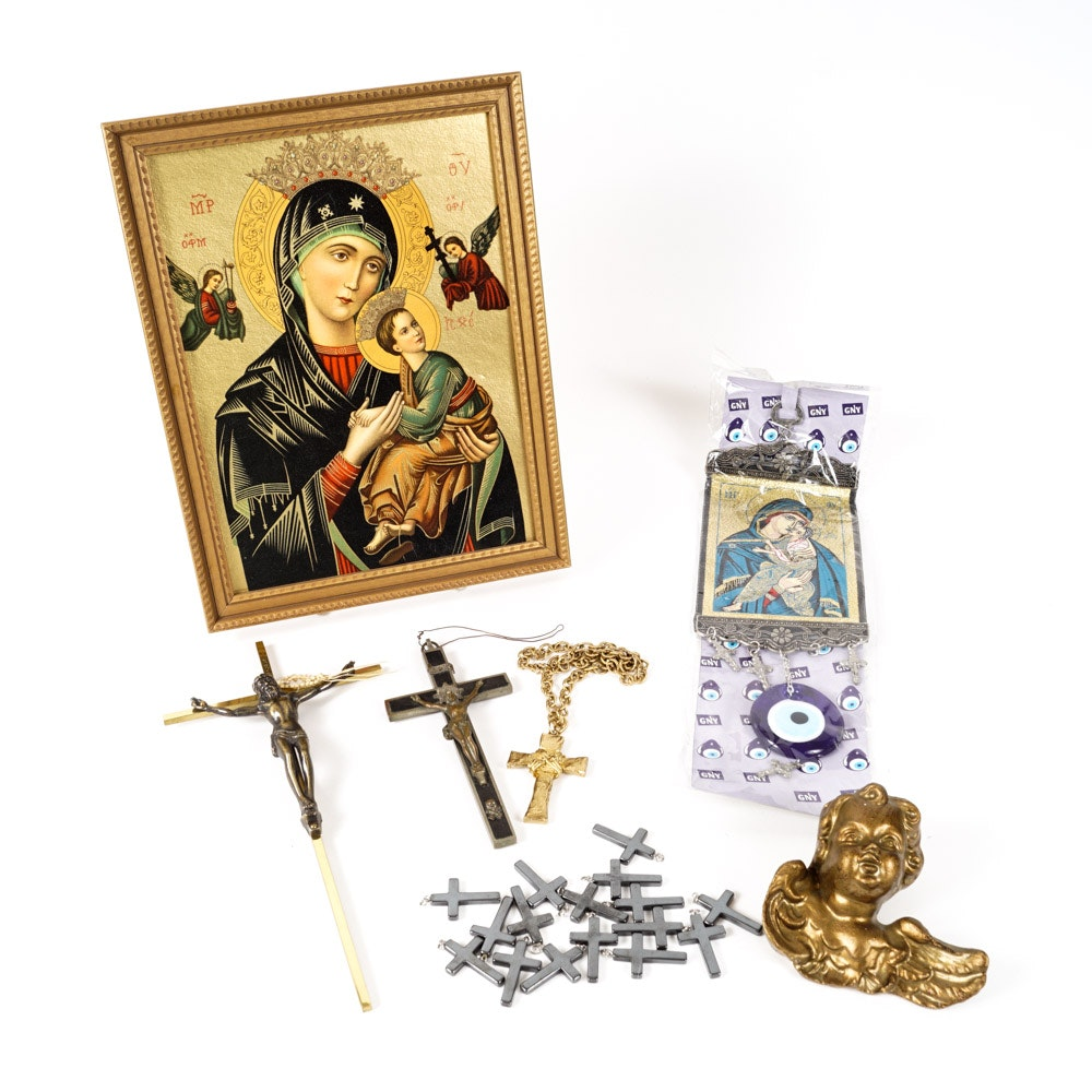 Religious Collectibles Including Crucifixes and Print After Byzantine Icon