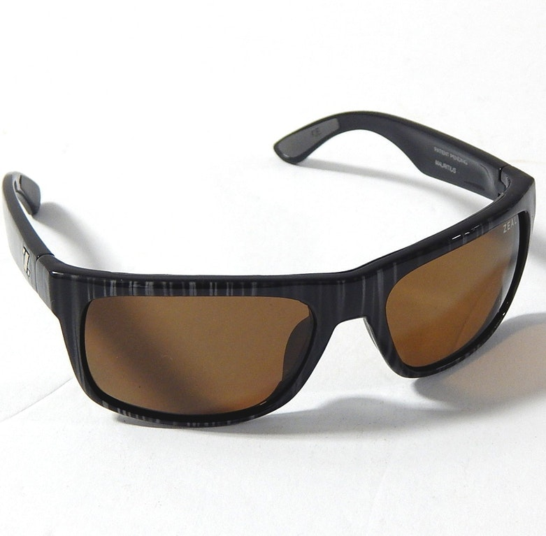 """Zeal Black and White Striped """"Essential"""" Polarized Sunglasses"""