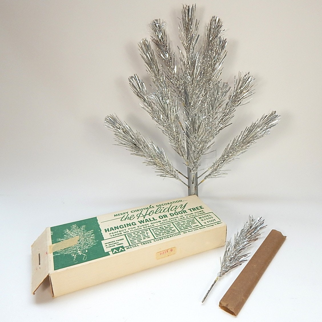 1950s 2' Wall Hanging Aluminum Christmas Tree