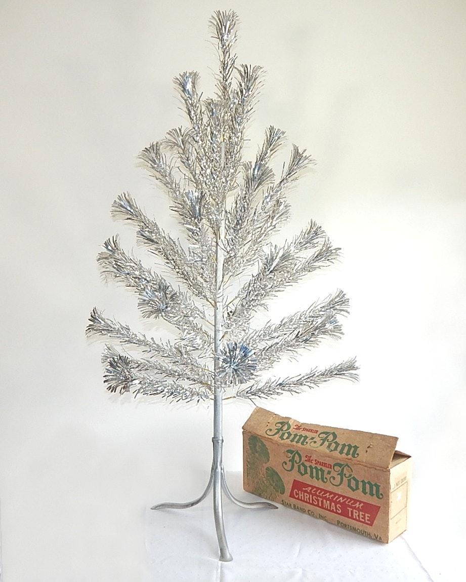 Vintage 4' Pom Pom Aluminum Christmas Tree