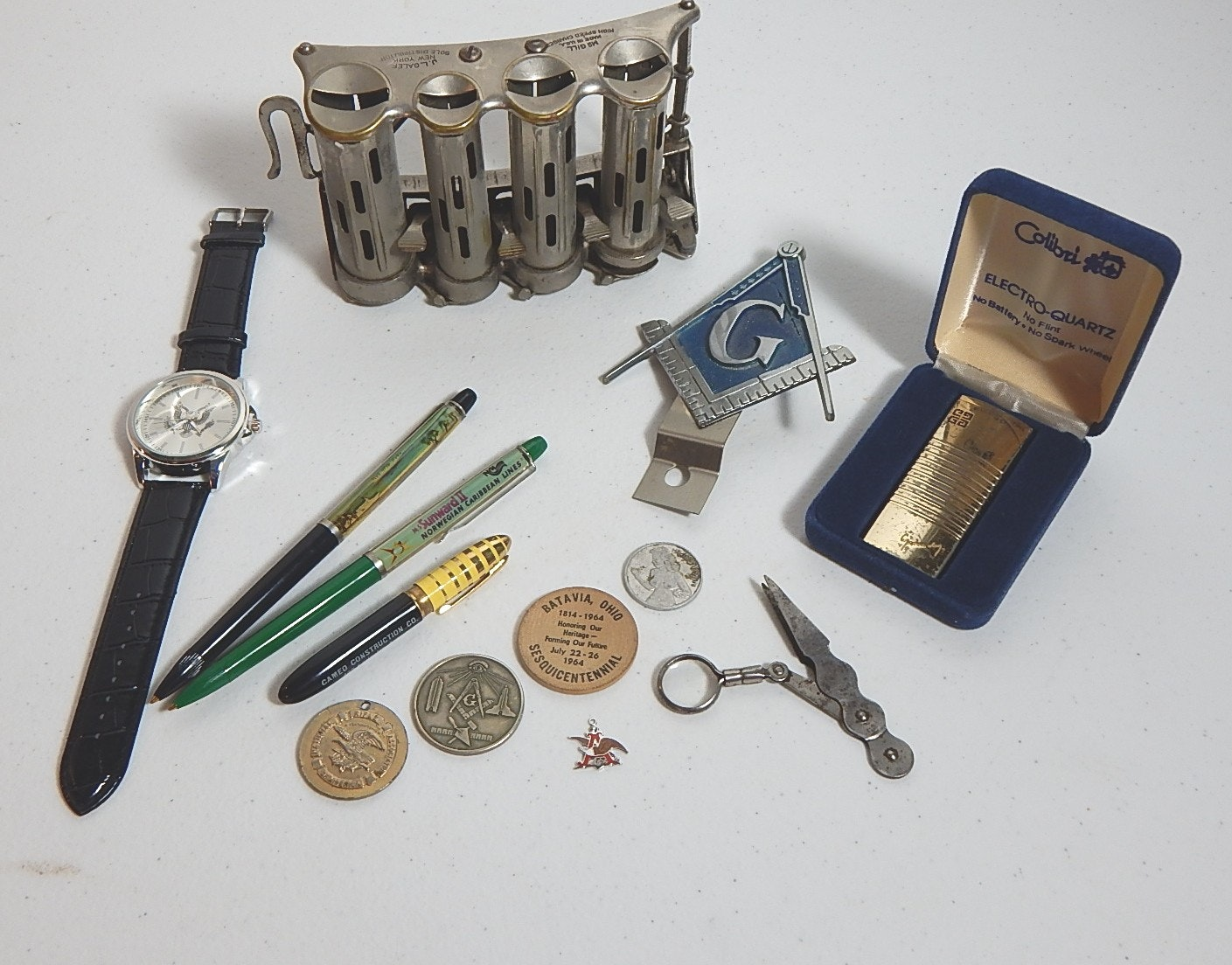 Coin Dispenser, Pens, Masonic, and Other Collectibles