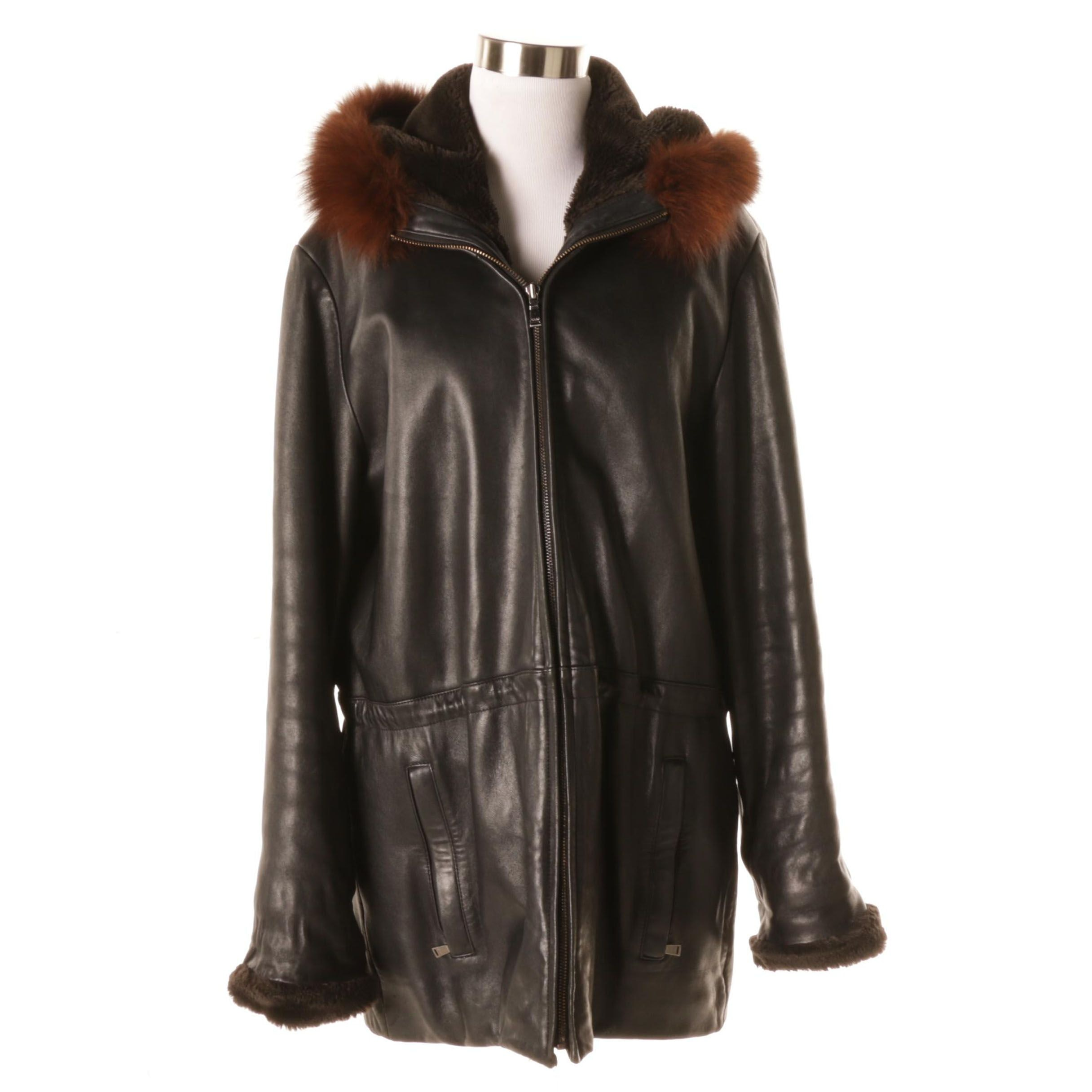 Women's Andrew Marc Additions Leather Coat with Fox Fur Collar