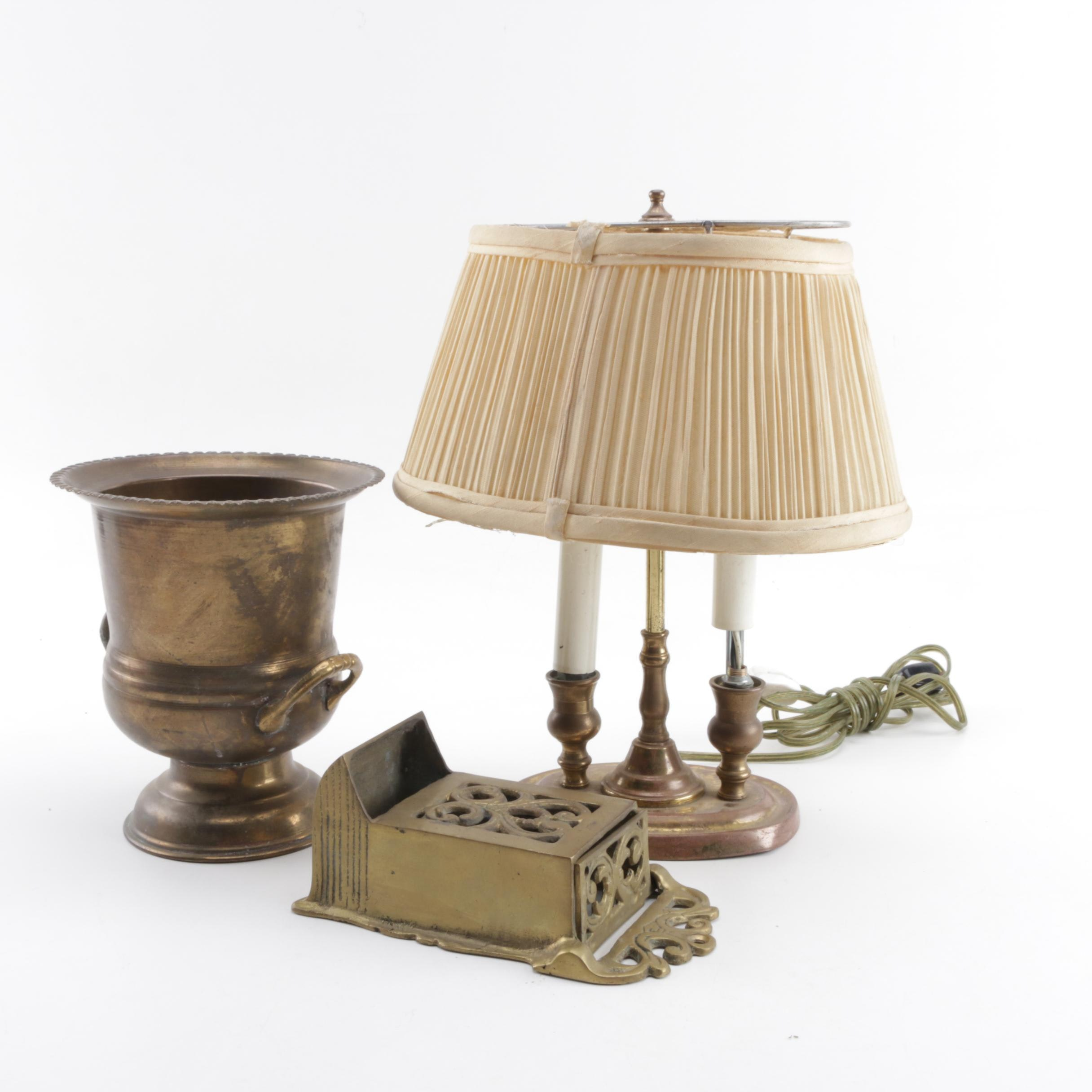 Gold Tone Lamp, Brass Vessel and Brass Decor