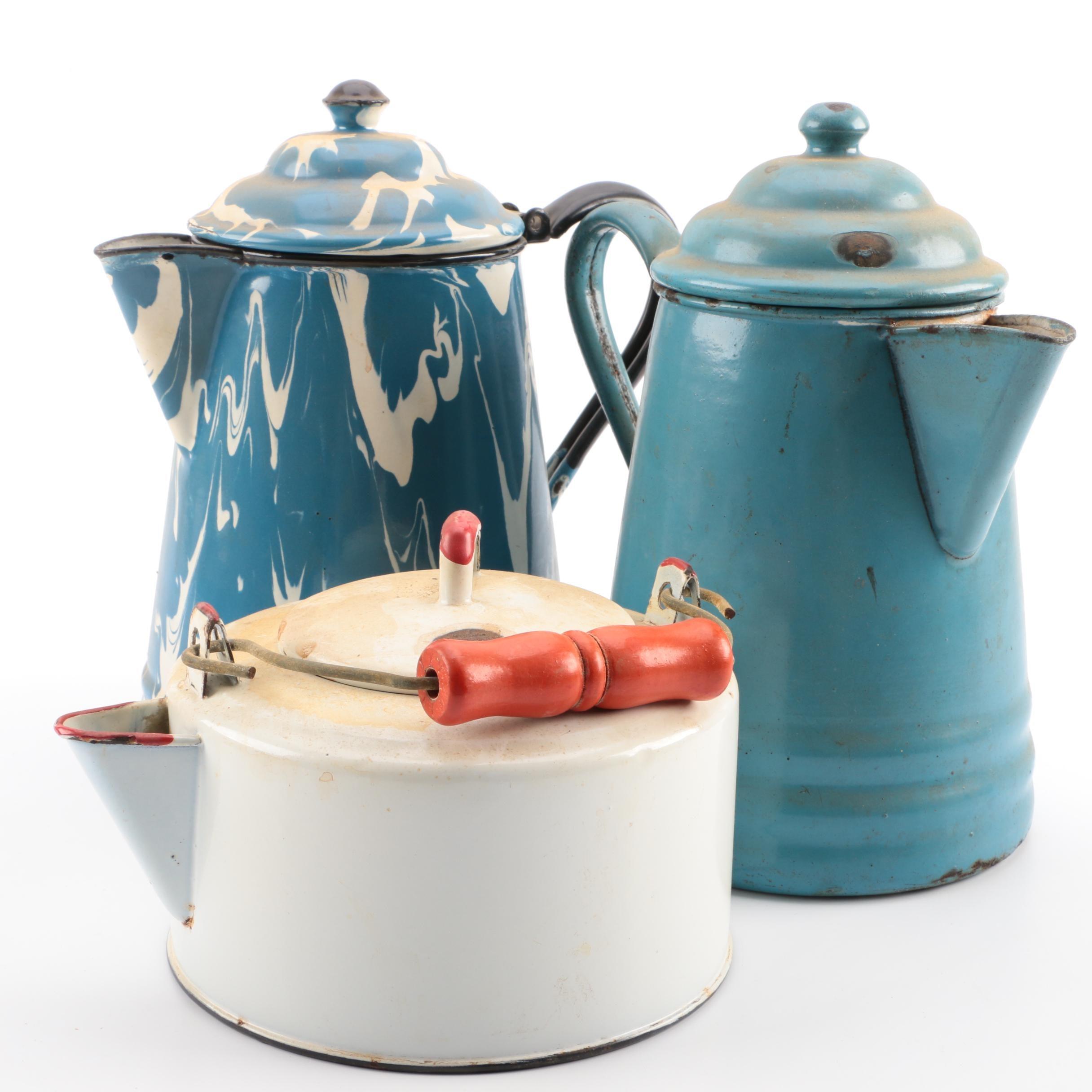 Vintage Enamelware Percolators and Teapot